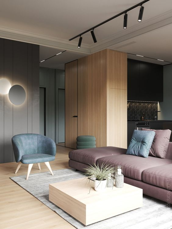 open living room, wooden floor, wooden wall partition, grey wall, pink sofa, blue chair, wooden coffee table, grey rug