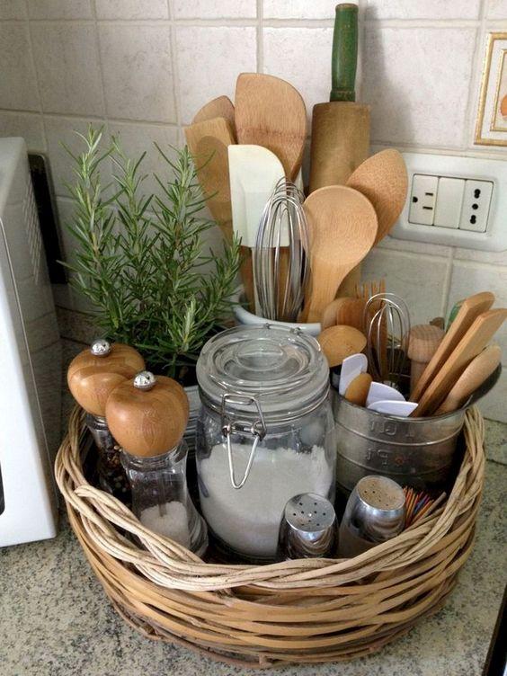 rattan basket to store kitchen tools