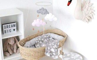 rattan bed swing, hung from ceiling, white wall light wooden floor, white shelves