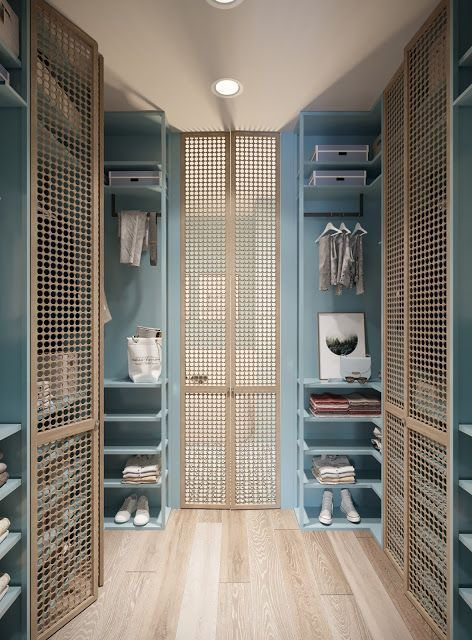 rattan grid doors on walking closet, wooden floor, blue built in shelves