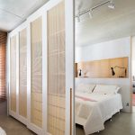 Rattan Sliding Door With White Wooden Frame, Seamless Floor, White Wall, Grey Ceiling