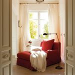 Red Lounge Chair, Wooden Floor, White Wall, Chandelier, White Curtain, Glass Window, Black Floor Lamp