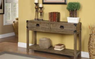 rustic console table with drawers frame tan wall wooden floor gray rug wooden console table candle holder drawers black hardware rattan base windows