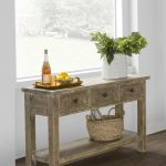 Rustic Console Table With Drawers Glass Windows White Walls Wooden Floor Textured Rug Rope Basket Indoor Plant Gold Tray Rustic Hardware