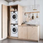 Small Wooden Laundry Cupboard, Shevlves, Ironing Boards, Cabinet, Cleaning Tools, White Backsplash, White Wall, Grey Seamless Floor