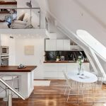 Spacious Attic, Wooden Floor, White Wall, White Kitchen Cabinet, Wooden Top, White Island, Wooden Top, White Stol, White Table, White Wired Chair, Wooden Shelves, White Chair