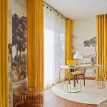 Study Room, Wooden Floor, White Round Rug, Study Table, Yellow Chair, Yellow Curtains, Round Side Table, Wallpaper