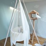 White Round Bed Swing With Triangle Support, White Curtain, Wooden Floor, Wooden Bird Cage