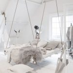 Whtie Floating Bed, White High Ceiling Room, White Wooden Floor