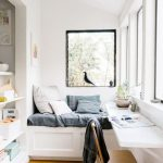 Window Nook, White Built In Bench, Grey Cushion, White Floating Table, Wooden Chair, Wooden Floor, Colorful Rug, White Wall,
