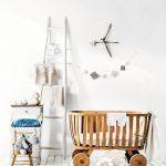 Wooden Baby Crib With Round Wheel, White Wooden Floor, White Wall, White Wooden Rack