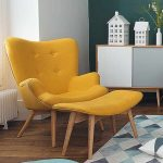 Wooden Chair With Yellow Velvet Cushion, Maching Ottoman, Wooden Floor, Blue White Rug, Blue Ottoman, White Wall, Green Wall, White Wooden Cabinet
