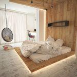 Wooden Floating Platform With Light Under, Bed On Board And Black Floating Shelves, Black Swing, Study