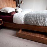 Wooden Floating Platform With Storage, Wooden Headboard, Floating Side Table Shelves
