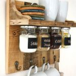 Wooden Floating Shelves With Seasoning Bottles Under, Hooks For Mugs