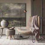 Wooden Floor, Beige Wall, Beige Leather Chair, Woven Ottoman, Side Table, Floor Lamp