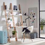 Wooden Racks, White Boards Shelves, White Table, Black Modern Chair, Black Pendant, Black Wired