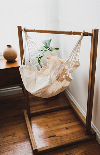 wooden supported baby bed swing, white fabric swing
