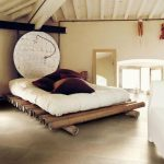 Bamboo Bed Platform, Brown Floor Tiles, White Wall, White Wooden Beams, White Cushion