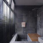 Bathroom, Black Wall Tiles, Black Floor Tiles, Silver Faucet, Wooden Shower Floor, Windows