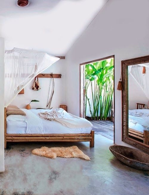 bedroom, seamless floor, white wall, white ceiling, bamboo bed platform, large mirror