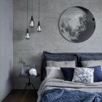 Black Metal Cage Pendants With White Bulbs, Grey Wall, Grey Ceiling, Wooden Floor, Blue Grey Bed, Black Side Table