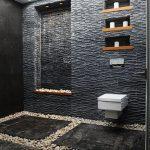 Black Stone Wall, Black Marble Floor, River Stones Floor, Wall Nook, Built In Shevles, White Floating Toilet