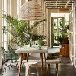 Dining Room, Wooden Dining Table, Wooden Bench, Rattan Stool, Green Rattan Chairs, Rattan Pendant, Grey Seamless Floor