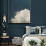 Glass Cone Pendant Bedside Lighting, Low Stool, White Linen, Wooden Floor, Dark Green Wall