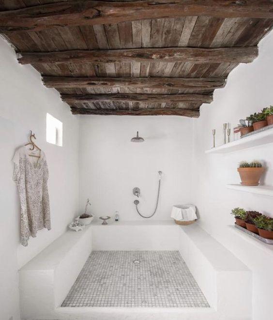 greek white bathroom, white floating shelves, wooden ceiling, white bathroom tiles