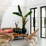 Living Room, Grey Seamless Floor, White Wall, Sofa, Wooden Table, Rattan Chairs