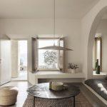Living Room, White Wall, White Built In Window Bay, Seamless Floor, Rattan Rug, White Sofa, Round Coffee Table, Rattan Pendant, Rattan Stool