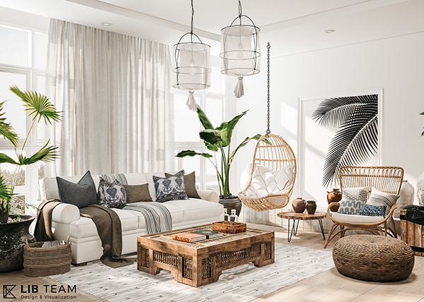 living room, wooden floor, white wall, grey rug, wooden coffee table, rattan swing, ratan chair, round coffee table, white pendant, plants, white sofa