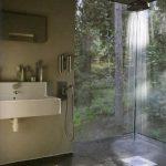 Shower, Cream Wall, Cream Marble Floating Sink, Shower, Tall Glass Window