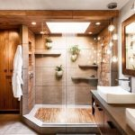 Shower Room, Brown Marble Wall, Floating Shelves, Floating Plants, Glass Ball Pendants, Wooden Cabinet, Whit Sink, Wooden Mat