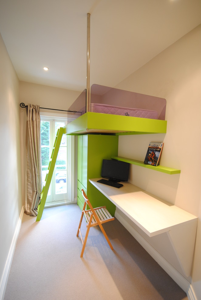 small room design ideas glass doors beige silk curtain green wardrobe green bunk bed green ladder wall mounted desk wooden chair wall shelf