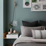 White Bird Cage Pendant Sconce, Green Wall, Floating Side Table, Grey Bed Linen