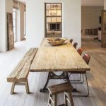 Wooden Dining Table With Metal Support, Wooden Bench, Wooden Stool, Brown Modern Chairs, Wooden Floor, White Wall,