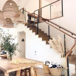 Wooden Dining Table, Wooden Stools, Wooden Floor, Rattan Pendant, Wooden Surfaced Stairs, White Wall