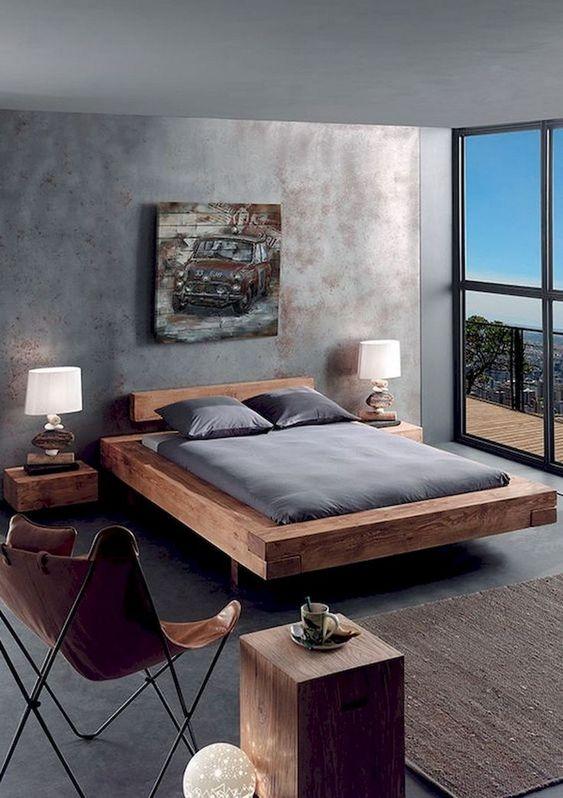 wooden platform, grey floor, rattan rug, leather chair, grey ceiling