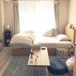 Apartment, Grey Floor, White Wall, Wooden Platform, White Bed, Wooden Coffee Table, Ottomans