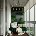 Balcony, Dark Wooden Floor, Green Sofa, White Wall, Grey Exposed Accent Wall, Orange Small Pendants, Grey Rug