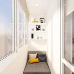 Balcony, Wooden Floor, White Bench With Storage, White Wall, White Floating Shelves, Grey Cushion, Pillows