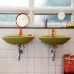 Bathroom, Black White Patterned Floor Tiles, White Square Wall Tiles, Shadowed Window Glass, Green Sink