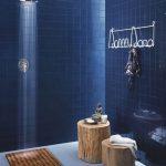 Bathroom, Blue Floor, Dark Blue Wall Tiles, Wooden Stoo, Shower,