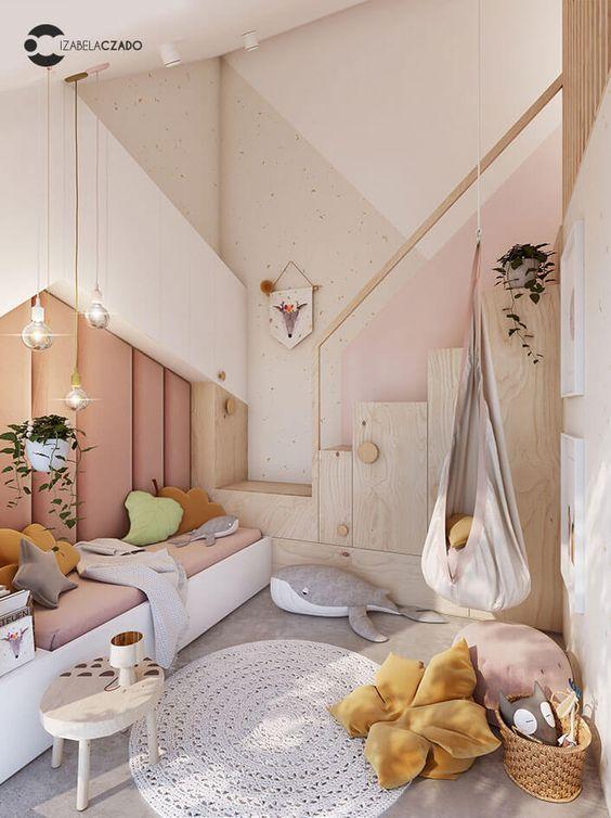 bedroom, grey floor, white wall, white platform, pink cushion, pendants, swing, grey rug