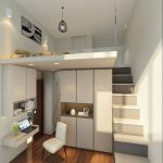 Bedroom, High Ceiling, Bed Upstairs, White Stairs, White Built In Cupboard, White Floating Table, Built In Shelves