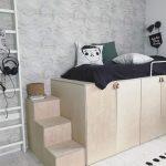 Bedroom, Low Cupboard, Bed Above, Stairs, Light Wooden Floor, Grey