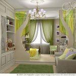 Bedroom, Neutral Floor Tiles, Green Grass Rug, Built In Cupboard, White Chandelier, Green Curtain, Grey Cushion
