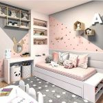 Bedroom, Pink Grey Wall, Grey Floor, White Bed Platform, Built In Shelves, White Study Table